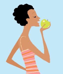 Women eating apple